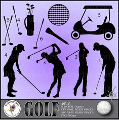Golf Silhouettes set 8  Vinyl Ready Images 11 by IrrationalArts