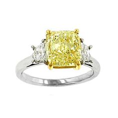 Three Stone Cushion Diamond Two Tone Engagement Ring 0.50 tcw.