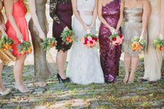 Bride and her maids - mismatched dress wear #ccseventsrva