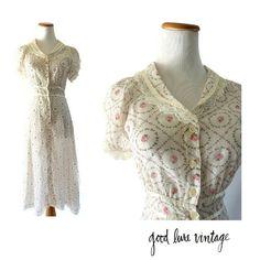 Sheer Floral Dress 70s Sundress Prairie Dress Floral Sundress Rose Flutter Sleeve Dress Hippie Sundress Gunne Sax Style Dress Size Small by GoodLuxeVintage on Etsy