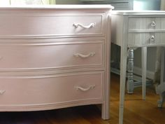 Shop Dressers and Chests | The Painted DrawerPink Blossom Curved Front Dresser, $275, (SOLD) This dresser is from the Touraine Collection by Drexel.    Painted in Antoinette by Annie Sloan over white, lightly distressed and then waxed for a durable, soft finish.  All hardware is original.  As seen from photos, the very bottom of the back of the piece has some slight damage but it in no way harms the structural integrity of the dresser.