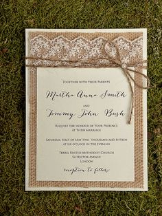 Hey, I found this really awesome Etsy listing at https://www.etsy.com/listing/183266679/shabby-chic-burlap-invitation-lace