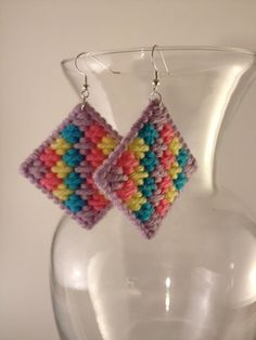 Plastic canvas diamond earrings, with a mosaic stitch.