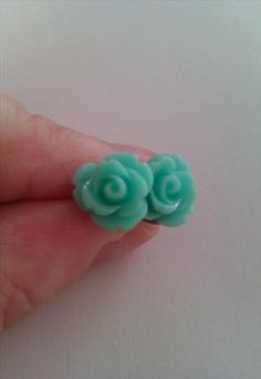 Tiny Turquoise Rose Earrings