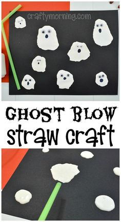 Here's an easy and cheap halloween craft for kids! Have the kids blow a ghost wi… Here's an easy and cheap halloween craft for kids! Have the kids blow a ghost with a straw! Halloween Tags, Theme Halloween, Halloween Arts And Crafts, Halloween Crafts For Toddlers, Toddler Crafts, Kids Crafts, Halloween Crafts Kindergarten, Toddler Halloween Activities, Creative Crafts