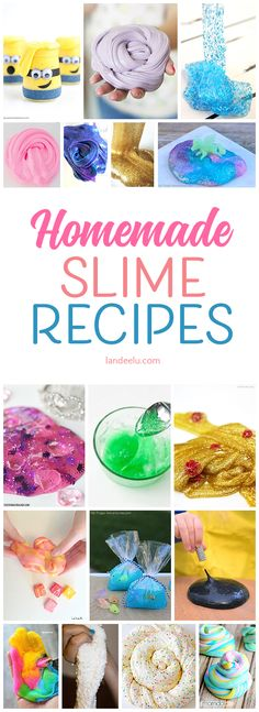 Looking for an awesome homemade slime recipe to try? This post is full of them! All borax-free and practically guaranteed to entertain the kids for hours!