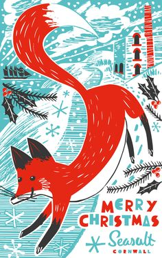 Christmas card illustration of fox on snowy Cornish coastline with tin mine. By Matt johnson for Seasalt Cornwall.