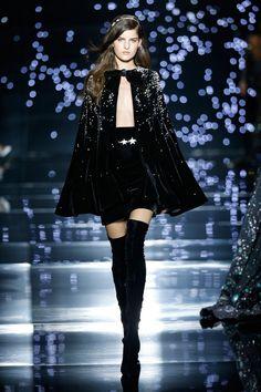Zuhair Murad 2016 Haute Couture Collection - Black velvet skirt paired with a diamond adorned black velvet silk cape