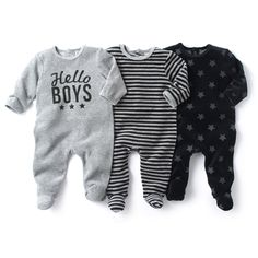 La Redoute - Pack of 3 Velour Sleepsuits with Feet Cute Maternity Outfits, Newborn Outfits, Baby Boy Outfits, Kids Outfits, Luxury Baby Clothes, Handmade Baby Clothes, Cute Baby Clothes, Baby Girl Fashion, Toddler Fashion