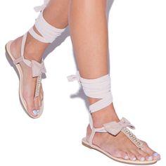 'Jeslene' Rhinestone Embellished T-Strap Sandals