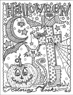 5 Pages Instant Download Halloween Coloring Art To Color Digital Digi Stamp Witch Cat Moon Fall