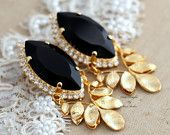 Statement Swarovski  Chandelier Black and Gold bridal earrings, rhinestone jewelry- 14k Gold plated gold leaf fashion ,style chandeliers.
