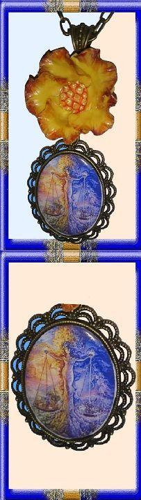 25 € ❄ B012 ❄ VENTE EN LIGNE sur ALittleMarket #GabyFéerie #bijoux #collier #signeduzodiaque #fleur #porcelainefroide #mythologie #noel #fetedesmeres #fantasy #faitmain: