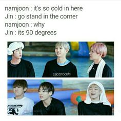 Omo cold af it joke jin>>> I love how perfect the pic works becuz jimin is the only one laughing Best Dad Jokes, Jin Dad Jokes, Good Jokes, Jimin, Bts Jin, Short Jokes, Bts Memes Hilarious, Dad Humor, Thing 1