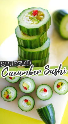 Cucumber Sushi Rolls: Delicious Sushi (Without the Mess) This healthy cucumber sushi roll recipe is an easy and refreshing way to enjoy sushi, without all the hassle! Complete with a spicy sriracha mayo sauce. Healthy Vegan Snacks, Vegan Appetizers, Appetizer Recipes, Vegetarian Recipes, Cooking Recipes, Healthy Recipes, Healthy Mayo, Cucumber Sushi Rolls, Healthy Sushi Rolls