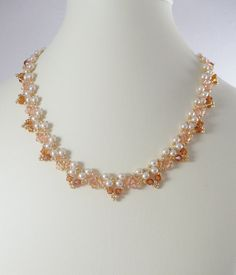 Necklace Woven Pearl and Swarovski Crystal in by IndulgedGirl, $30.00