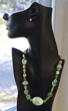 Futuristic egg stone necklace with unique beaded bold beads