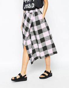 cheap monday cheecked wrap midi skirt