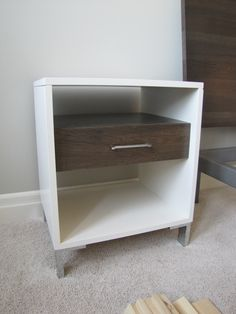 custom two toned nightstand in maple and hickory - model home
