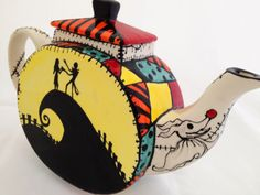 Nightmare Before Christmas Inspired Tea Pot: Hand Painted Sally Patchwork, Jack and Sally, HalloweenTown, Zero, and Oogie Booie by MineByDesignStudio on Etsy https://www.etsy.com/listing/205422610/nightmare-before-christmas-inspired-tea