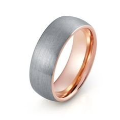 Rose Gold Tungsten Wedding Band Mens Rose Gold by TungstenForever