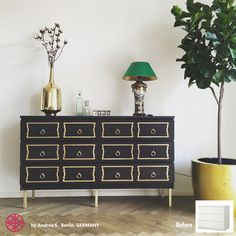 Amazing Ikea hack by Andrea using two Ikea Malm dressers, added O'verlays and legs. An easy diy home decor idea for a fabulous sideboard.