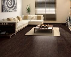 stained cork floor - dark and eco friendly!