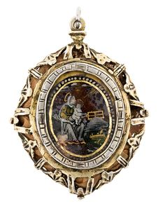 Medallion pendant, 17th century Silver frame and two miniatures in églomisé glass depicting the Virgin of Montserrat on the front and Saint John the Baptist on the back. 6.5 cm. 59 gr | Dans la vente Bijoux, Art Oriental, Art Russe et Art Orthodoxe, Antiquités et Beaux-Arts à Balclis, Barcelone