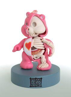 Skeletal structures and internal organs of beloved cartoon characters.