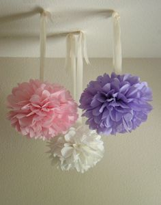 Dreamy Tissue Paper Pom Pom Chandeliers - Your Choice Of Colors - 3 Pom Poms