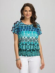Roz & Ali Turquoise-print Smock Top - Dressbarn
