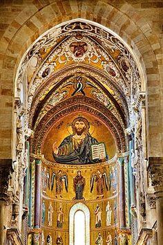 Mosaico, catedral, CefalË, Palermo, Sicilia, Italia