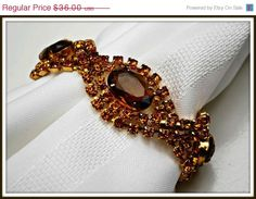 Vintage Citrine Amber Color Rhinestone by serendipitytreasure, $32.40