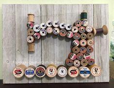 Sewing studio vintage thread spools New ideas Sewing Room Decor, Sewing Room Organization, My Sewing Room, Sewing Art, Sewing Crafts, Diy Crafts, Free Sewing, Wooden Spool Crafts, Wooden Spools