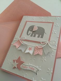 20 Trendy Baby Cards Shower Stampin Up Tarjetas Stampin Up, Stampin Up Cards, Baby Girl Cards, New Baby Cards, Scrapbook Bebe, Scrapbook Cards, Karten Diy, Cute Cards, Cards Diy