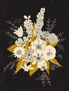 Floral in Gold and Cream designed by Dylan Mierzwinski. the global community for designers and creative professionals. Art And Illustration, Floral Illustrations, Flower Illustration Pattern, Art Inspo, Collages, Artwork, Art Photography, Artsy, Art Prints