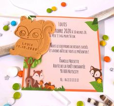 """Faire-part de naissance ou baptême """"Ecureuil""""/animaux de la forêt Place Cards, Place Card Holders, Partying Hard, Early Childhood"""
