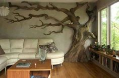 Want to do something like this so bad! Tree decor, tree wall art.