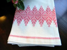 Linen Dish Towels | Linen Tea Towel Dish Towel Swedish Embroidery on Huck Toweling 4700