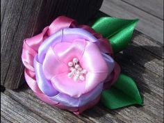 Rosa em Cetim com tres camadas Passo a Passo -Pink satin ribbons - YouTube