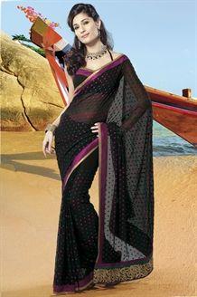 Black georgette saree with aari work