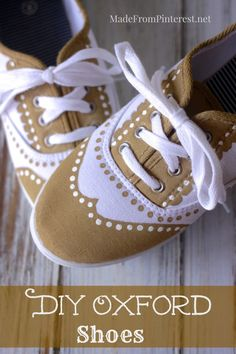 DIY Oxford - Easy way to dress up a pair of simple tennis shoes! This tutorial shoes you how to transform you plain $5 sneakers into somethi...