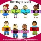 100th Day of School Clip Art - File includes 8 unique custom clip art images (as seen in the first thumbnail image) by Jeanette Baker in both color...
