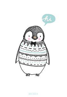 Marieke ten Berge 'A4 Poster Pinguïn'