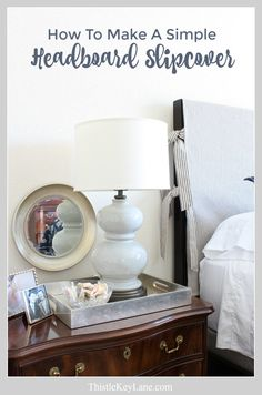A headboard slipcover is a quick solution when updating a bedroom. See how to make a simple headboard slipcover with ticking fabric. Furniture Design Modern, Headboards For Beds, Simple Headboard, Room Divider Headboard, Headboard With Shelves, Painted Headboard, How To Make Headboard, Headboard, Bedroom Headboard