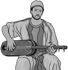 [ guembri ] plucked string instrument. royalty free clipart