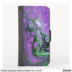 Purple and green abstract paint iPhone wallet case Grey Abstract Art, Grey Art, Iphone Wallet Case, Card Wallet, New Iphone, Apple Iphone, Ipod Touch Cases, Phone Card, Unique Iphone Cases