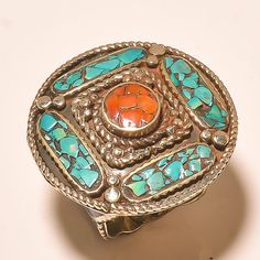 Dazzling Turquoise With Red Coral Tibetan Silver Jewelry Ring Size -7.50'' #Handmade #Cluster