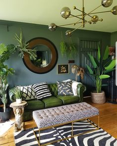 donwpipe walls, green leather chesterfield sofa leopard print bench zebra rug and plants -interiors inspiration for lovers of dark scandi boho Creative, Colourful Living Spaces to Increase Productivity. Stylish Home Decor, Diy Home Decor, Green Home Decor, Green Wall Decor, Decoration Crafts, Diy Crafts, Interior Design Living Room, Living Room Designs, Interior Design Plants