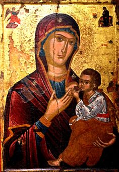 """Икона Божией Матери """"Млекопитательница"""". Византийский музей в городе Пафос, Кипр."""
